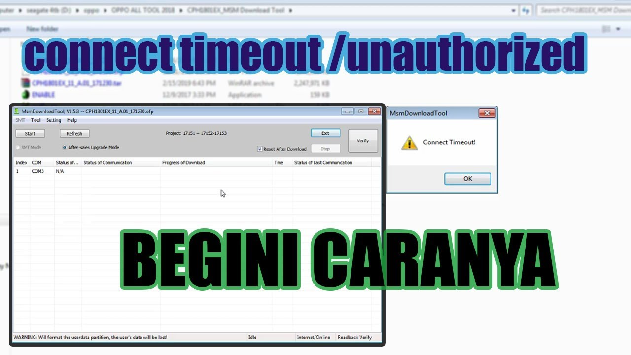 Tutorial FIX MsmDownloadTool connect timeout /unauthorized - Pengalaman  Work Tested 100%