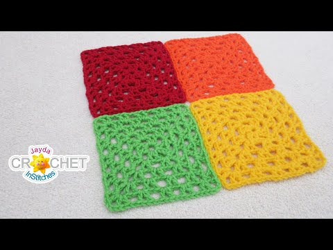 V Stitch Granny Square Crochet Pattern & Tutorial For Beginners