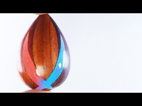 Pendant X the Padauk,Amaranth and Epoxy Resin (Red and Blue)
