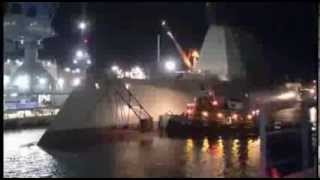 US Navy   DDG 1000 Zumwalt Class Destroyer Launched From Drydock Timelapse