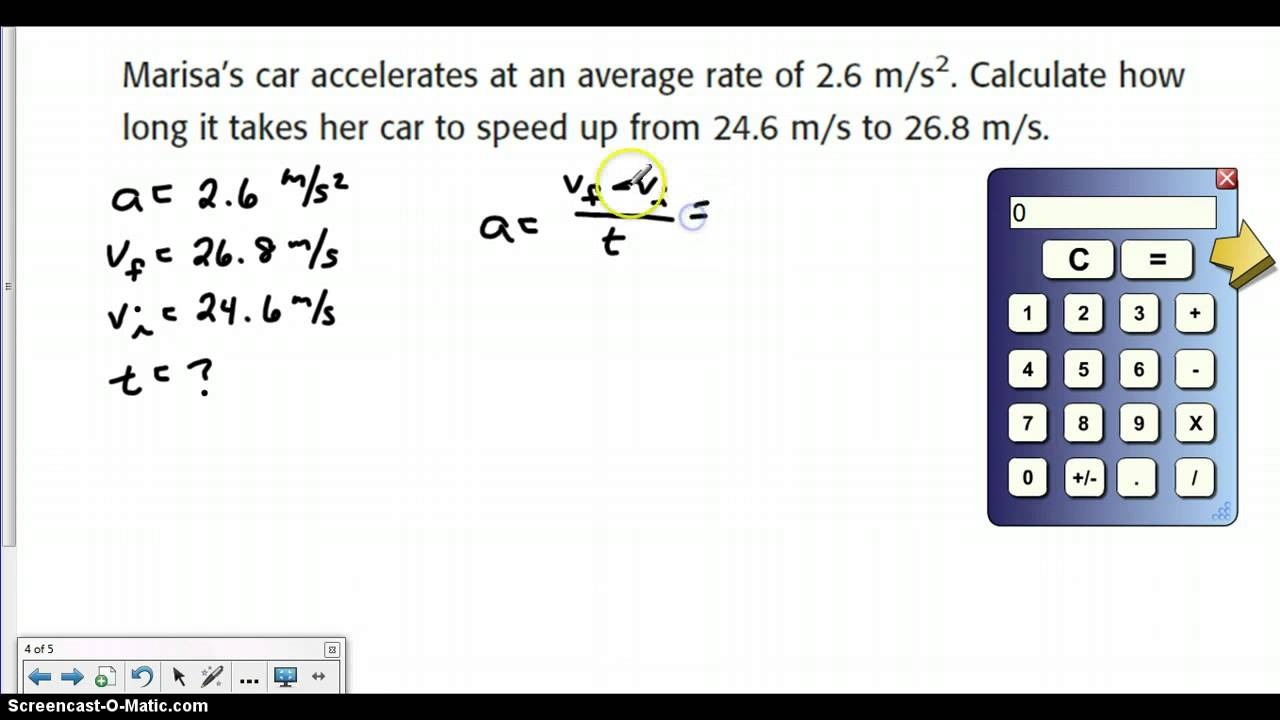 worksheet Acceleration Calculations Worksheet how to calculate acceleration youtube