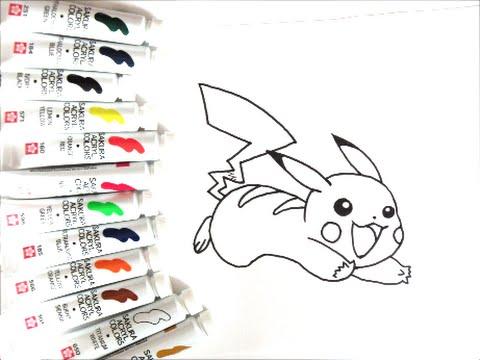 ポケモンキャラクター 跳びはねてるピカチュウの描き方