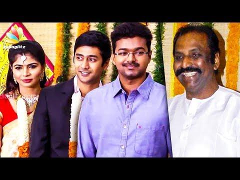 Vijay, P. Susheela and Vairamuthu at Singer Chinmayi and Rahul Wedding Reception | Vivek, Karthik