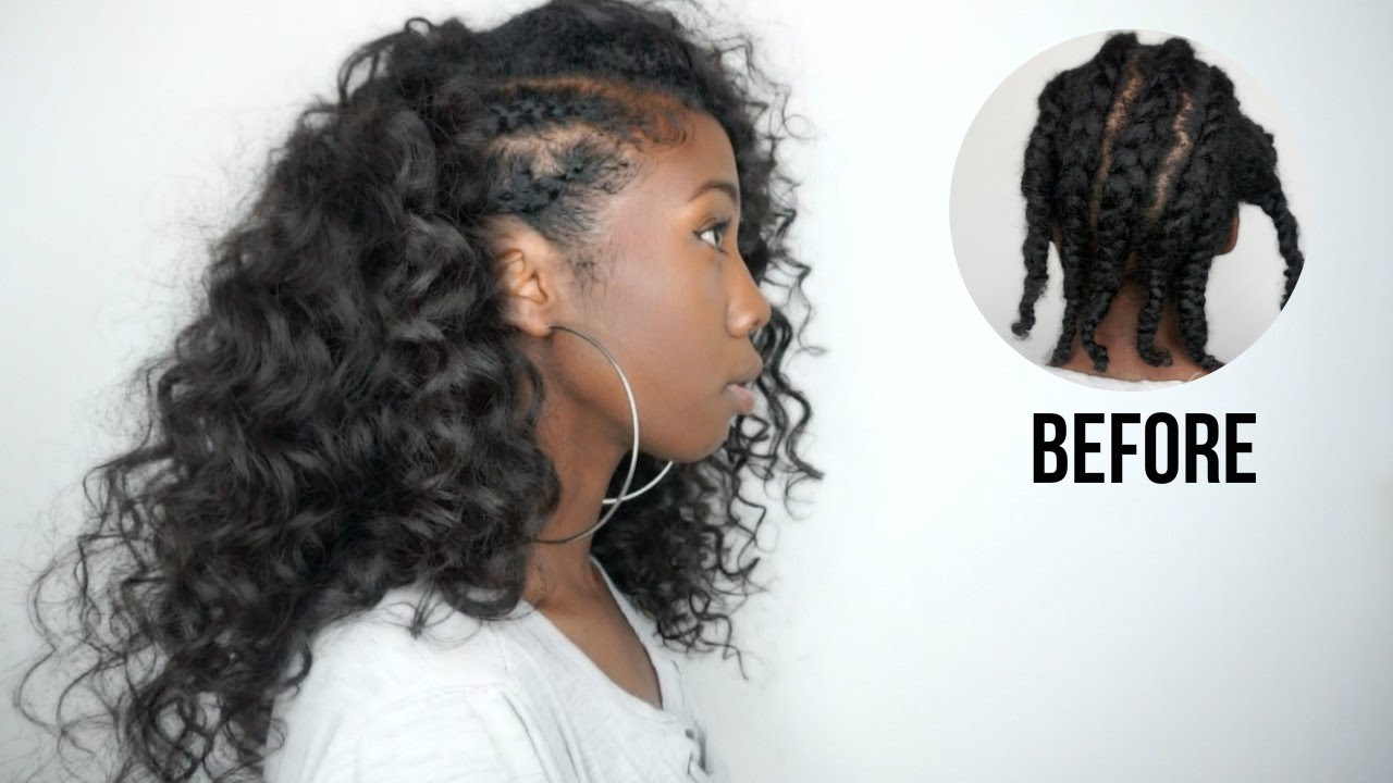side cornrows hairstyle with clip-ins