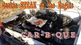 cooking steak and potato on your engine