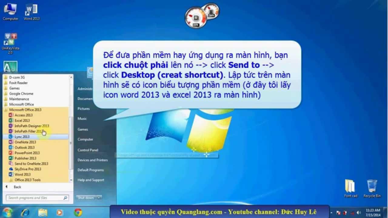 Đưa icon biểu tượng ra màn hình Desktop Win 7