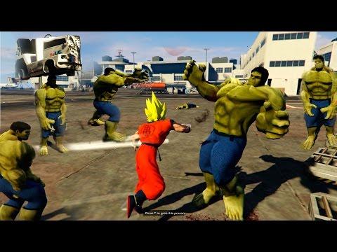 GOKU VS 5 HULK | ME DESTROZAN! | GTA 5 PC MODS