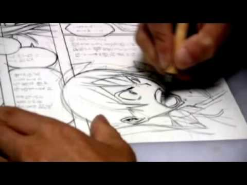Takeshi Obata Inking A Page Of Bakuman