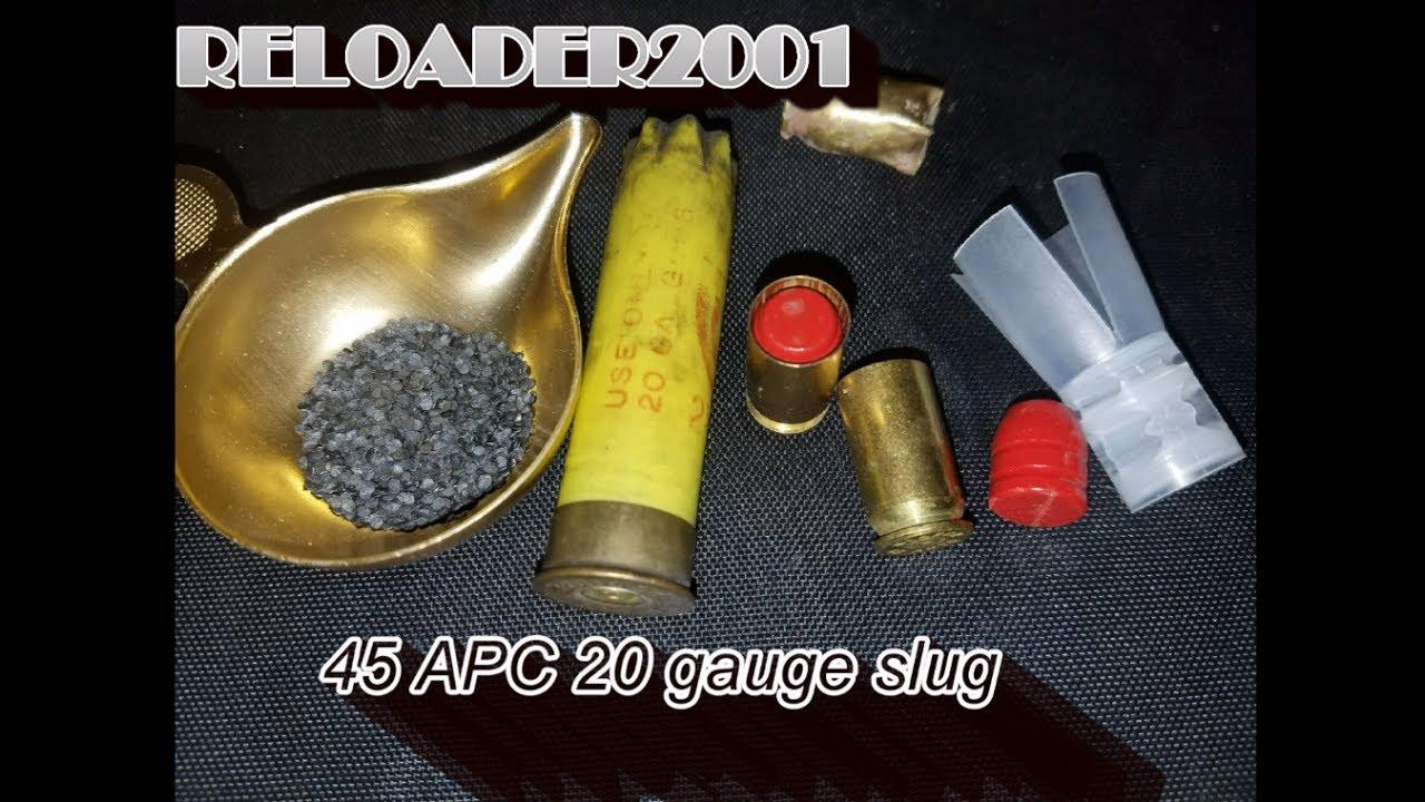 45 ACP 20 gauge slug