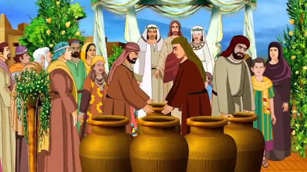 Turns Water Into Wine In The Wedding At Cana Cartoon Stories For Kids German You
