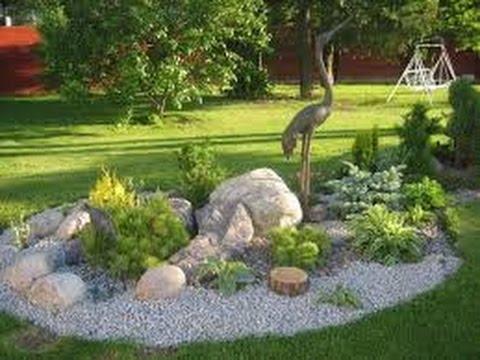 como hacer un jardin con piedras - YouTube