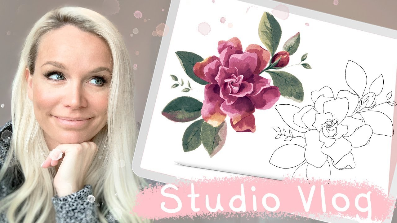 Studio Vlog 021 Drawing Watercolor Flowers Easily With Stamp Brush In Procreate Youtube