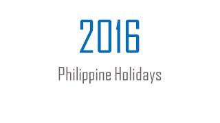 2016 Philippine Holidays (TeachersinPH)