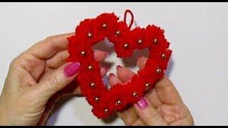 Двухстороннее Пушистое Сердце своими руками/ Подарки поделки на День Святого Валентина, 8 Марта.DIY/