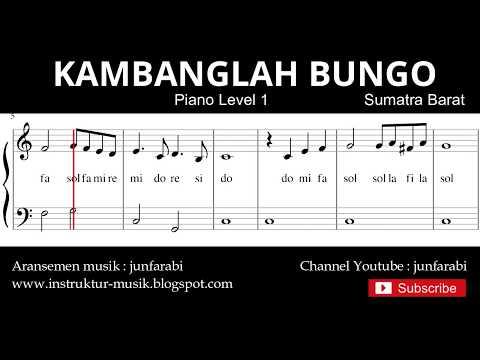 Not Balok Kambanglah Bungo - Piano Level 1 - Lagu Daerah Sumatra Barat - Doremi Solmisasi