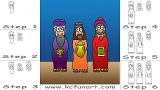 89-How To Draw Cartoon Three Wise Men