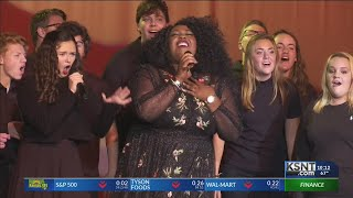NBC's The Voice finalist Kyla Jade performs at her former high school