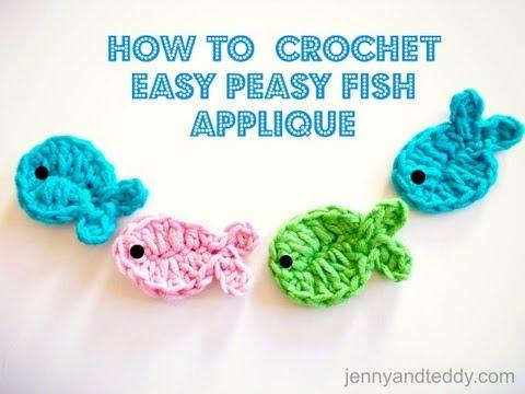 crochet fish applique free pattern - YouTube