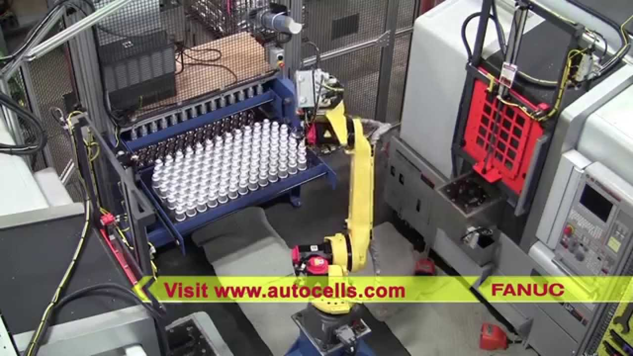 robotic machine tool loading system with fanuc robot automated cells equipment youtube. Black Bedroom Furniture Sets. Home Design Ideas