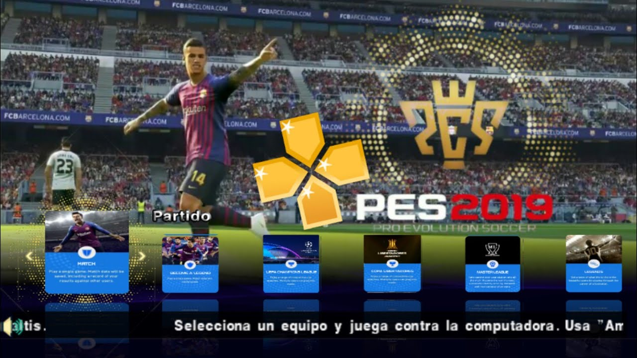 PES 2019( PPSSPP)Android 900 MB New Menu Best Graphics Update