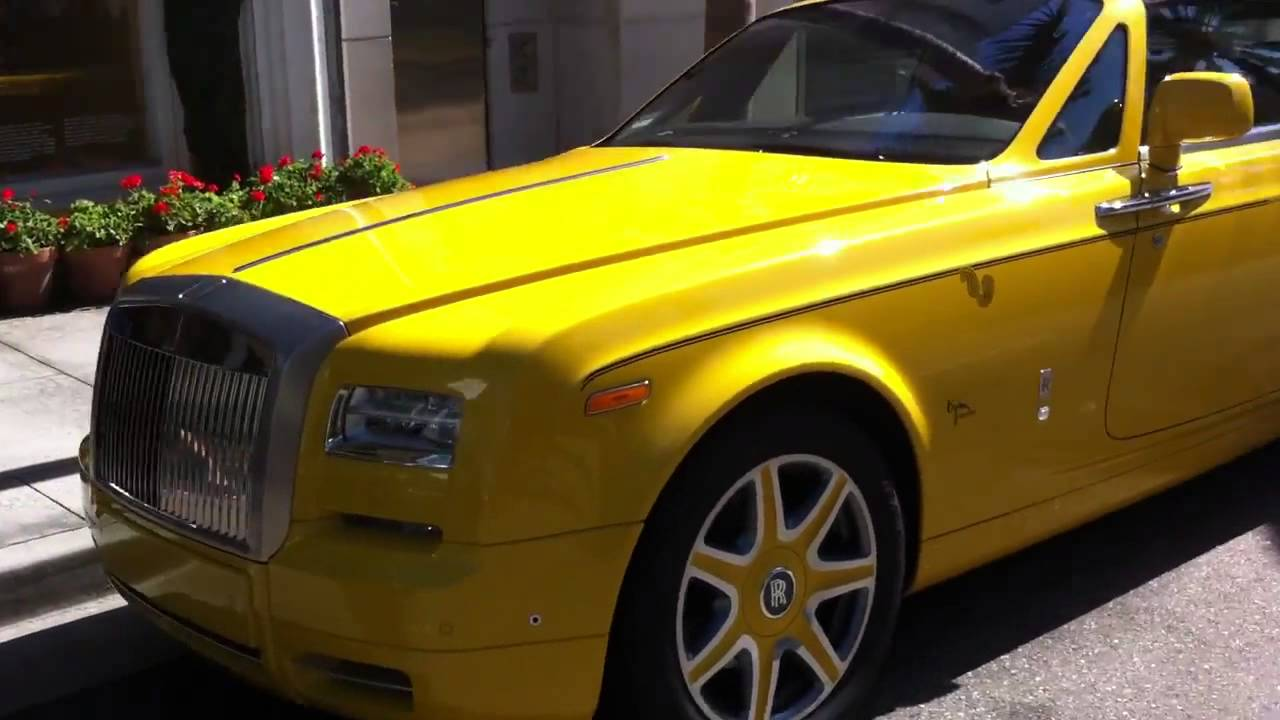 Yellow Rolls Royce Phantom Drophead Coupe In Beverly Hills 720p