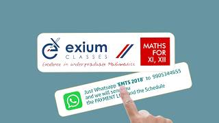 Maths Mock Test Series 2018 for Class 12 at Exium Classes