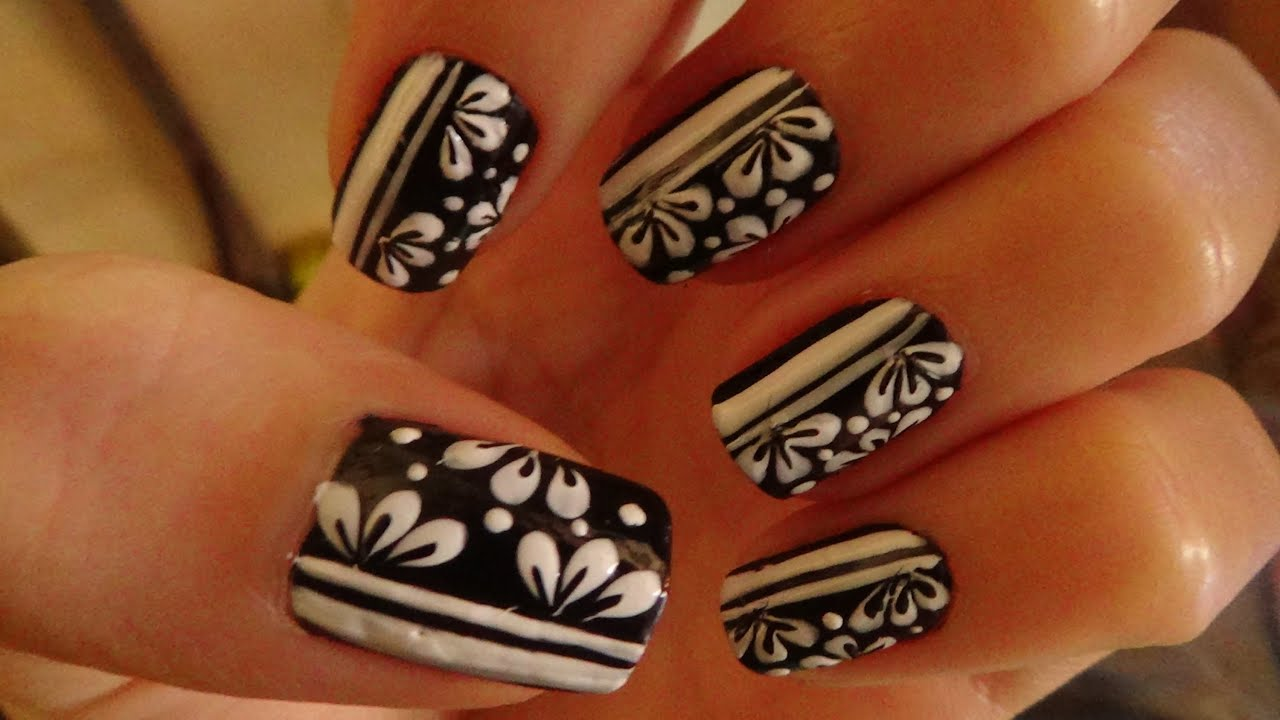 Nail Art Easy Nails With A Hair Flower Motifs Youtube