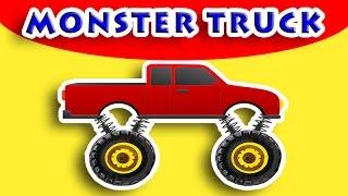 Monster Truck Construction - BUILDING Pickup truck in Garage for kids