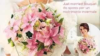 Idee decorative per fioristi: bouquet da sposa con Stelle di Natale