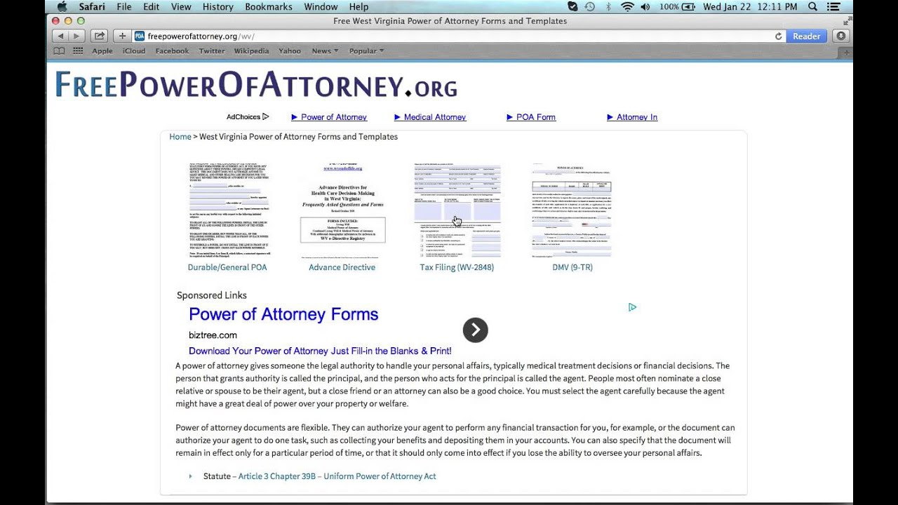 How To Write A West Virginia Power Of Attorney Form Youtube