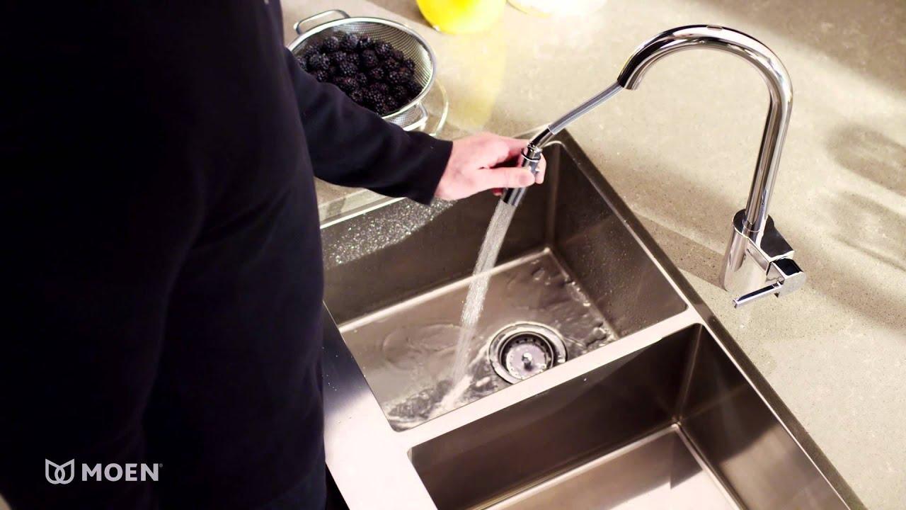 align one handle high arc pulldown kitchen faucet moen features spotlight