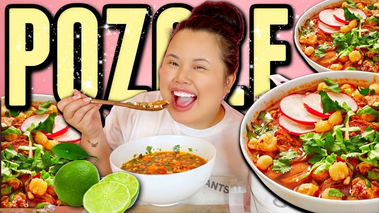 "AUTHENTIC MEXICAN FOOD ""POZOLE"" (Mexican Pork and Hominy Stew) MUKBANG 먹방 EATING SHOW!"