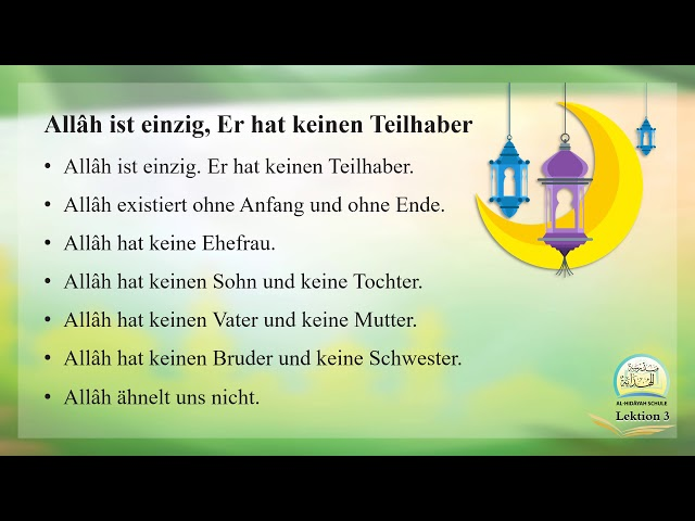 Die islamische Bildung Band 1 Lektion 3 auf Deutsch