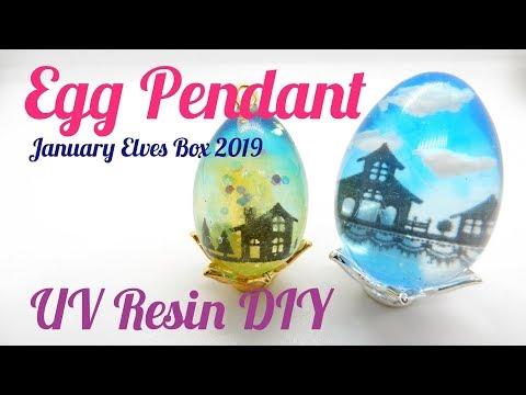 UV Resin DIY Egg Pendant January Elves Box 2019