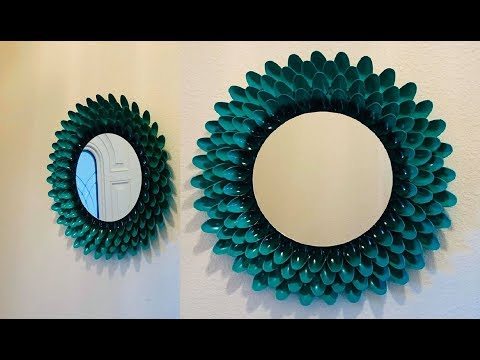 DIY: Mirror Wall Hanging Decoration with Plastic Spoons
