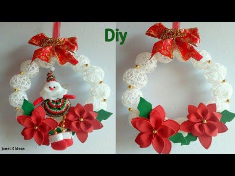 Diy corona navide a con esferas de hilo decoraciones - Decoraciones navidenas manualidades ...