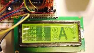Arduino UNO SED1520 GLCD demo test 122x32px