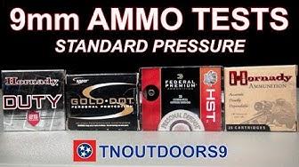 9mm Standard Pressure Ammo Tests (Gold Dot, HST, Critical Duty, XTP)