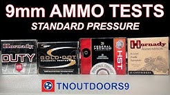 9mm Standard Pressure Ammo Tests (Gold Dot, HST, Critical Duty, XTP)