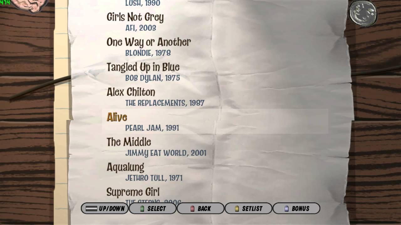 Band hero 3 setlist