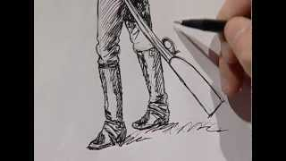 How to draw a cowboy from the old western 3./ Cómo dibujar un vaquero del viejo oeste 3.