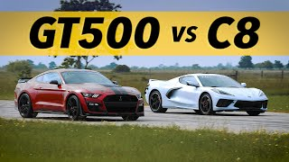 C8 Corvette vs GT500 Mustang   Drag & Roll-on Racing Comparison