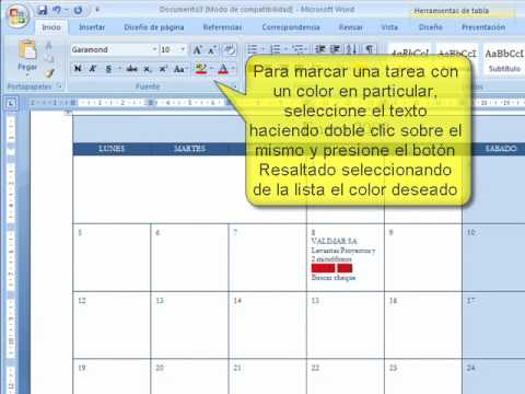 Como Hacer Un Calendario En Word.Word Generar Un Calendario De Tareas