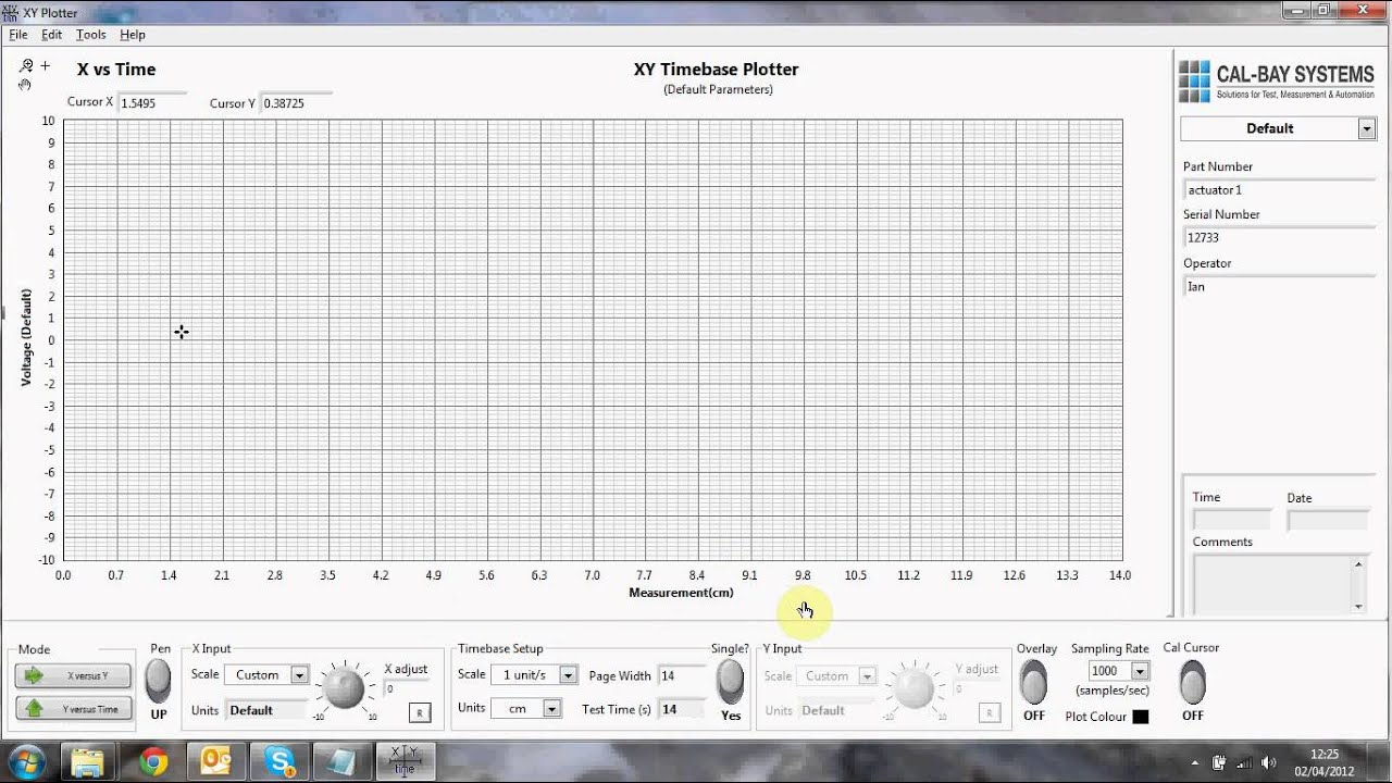 Using The Chart Recorder Function In The Xy Plotter