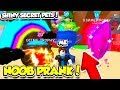 NOOB PRANK WITH THE BEST SECRET SHINY PETS IN BUBBLE GUM SIMULATOR!! (Roblox)