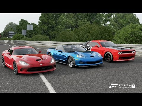 Forza 7 Drag race: Dodge Demon vs SRT Viper GTS vs Corvette C6 Zr1 (REMATCH)