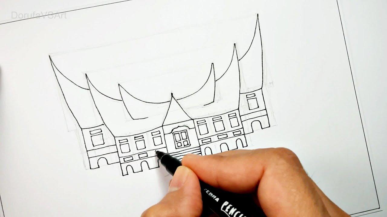 90+ Gambar Rumah Gadang Pakai Pensil Terbaik