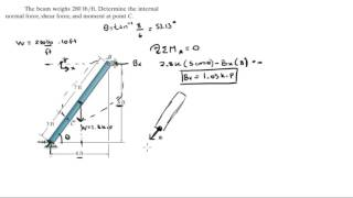 Determine the internal normal force, shear force, and moment at point C