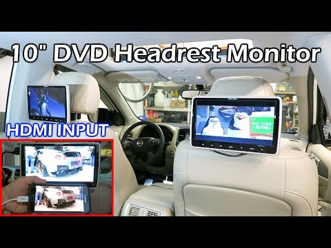 "Install Dual 10"" Car DVD Headrest Monitors"