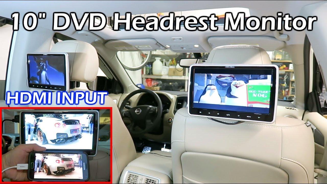 Install Dual Car DVD Headrest Monitors YouTube - Car show headrest monitors